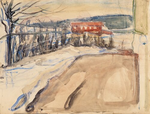 Winter Landscape with Red House at Ekely