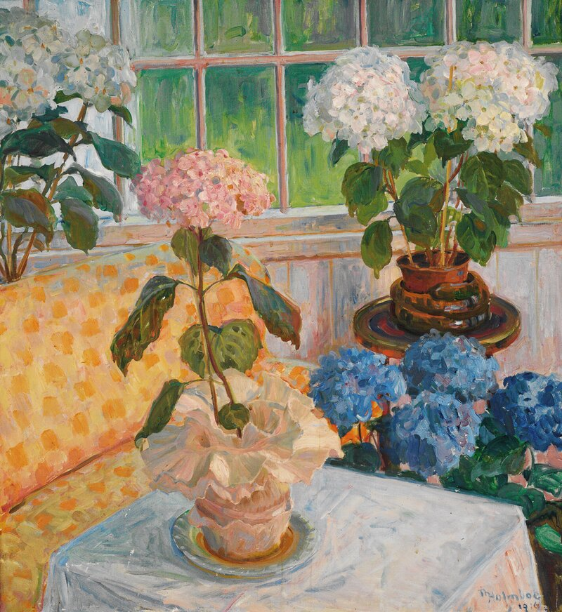 Hagestue med hortensia i potter 1916