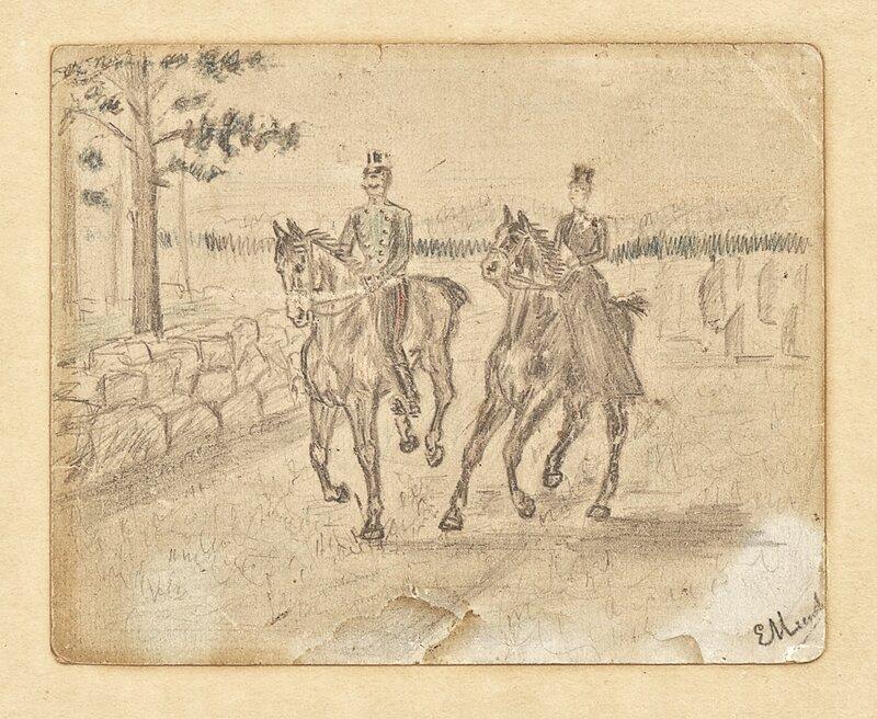 Kvinne og mann ridende i galopp