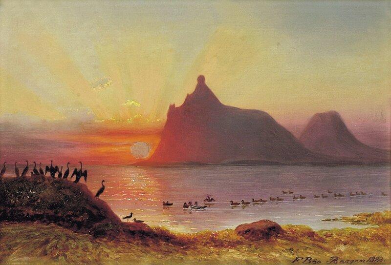 Midnattsol ved Hestmanøy  i Nordland 1883