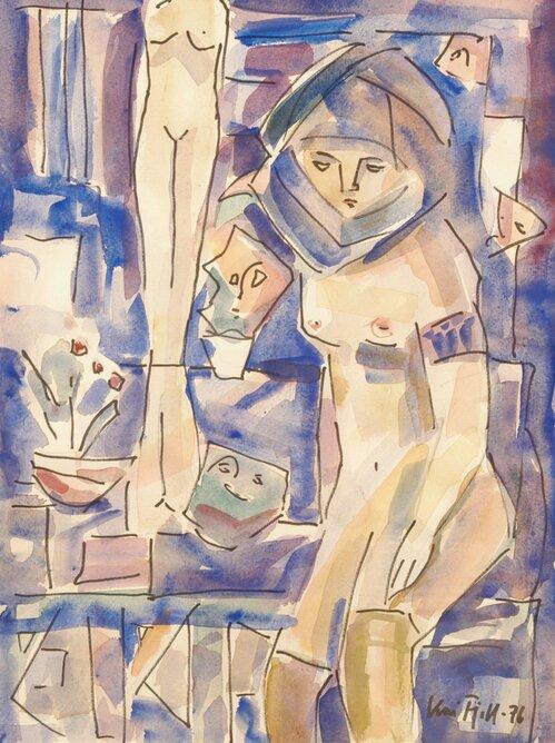 Kvinneakt i interiør 1976