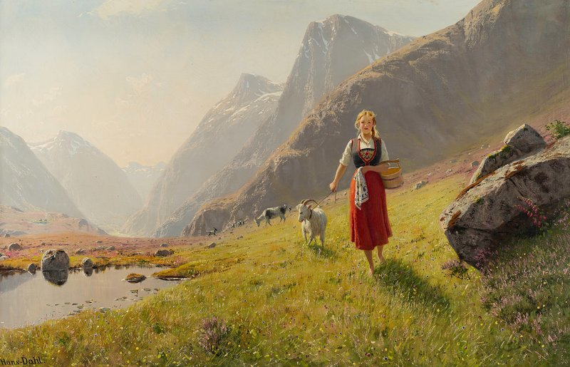 Girl with a wooden bucket leading goats