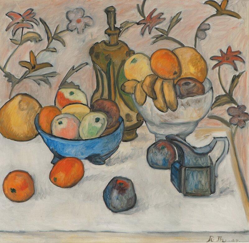 Oppstilling med krukker, karaffel og frukt 1924