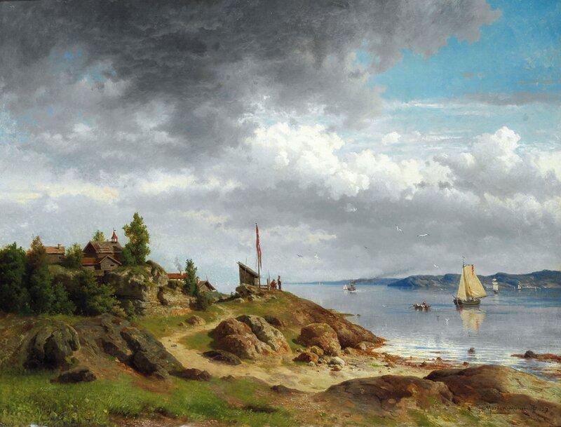 Norsk kystlandskap med folkeliv 1857