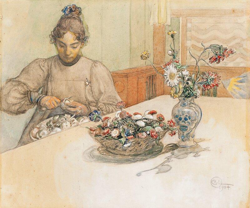 Karin skreller epler 1904