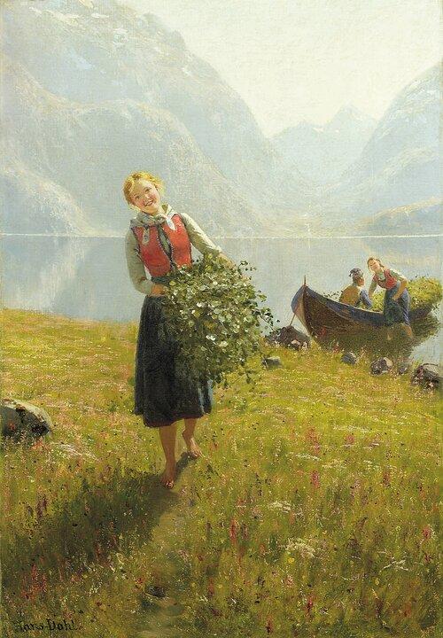 Jente med kvist i favnen