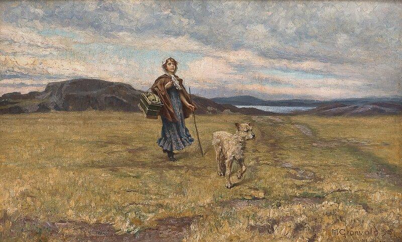 Vandrende pike med hund 1915