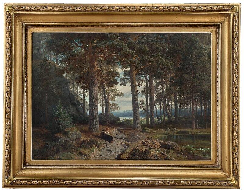Det indre av en furuskog 1856