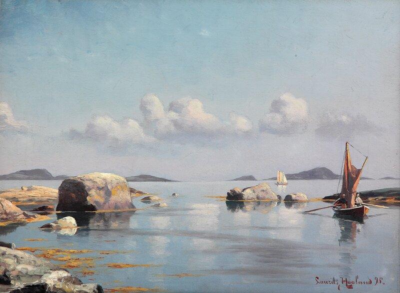 Båter i kystlandskap 1895