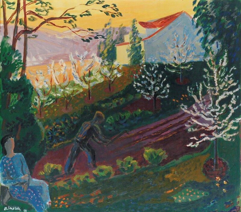 Vårkveld i hagen 1940