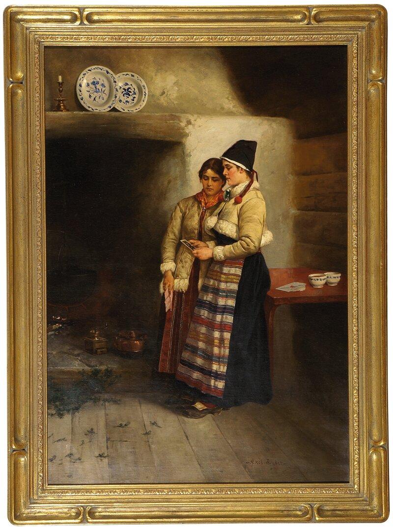 To kvinner med brev i interiør