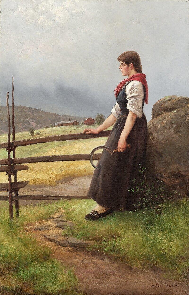 Kvinne i bunad med sigd