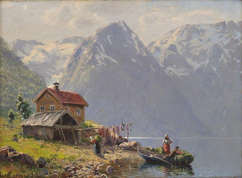 Fjordlandskap med folkeliv 1916