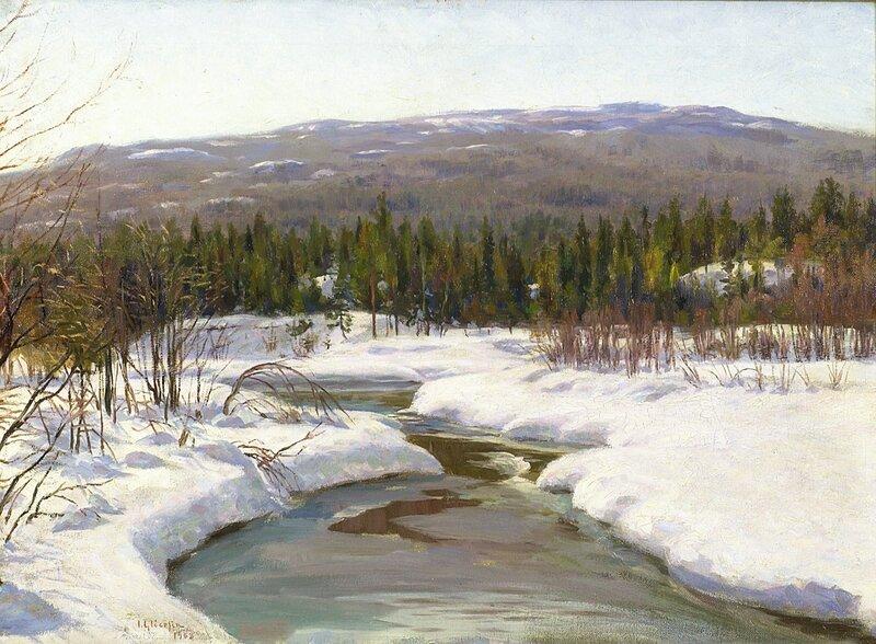 Elv i vinterlandskap 1908