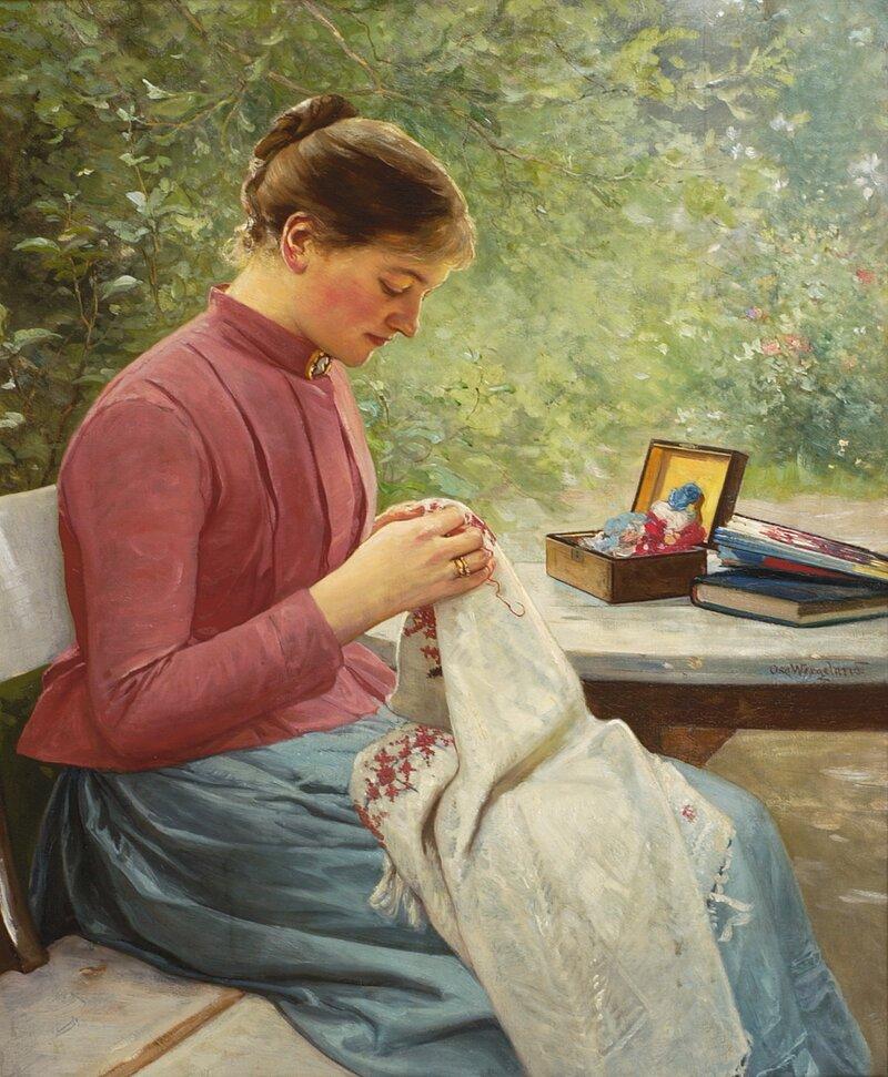 Kvinne som syr