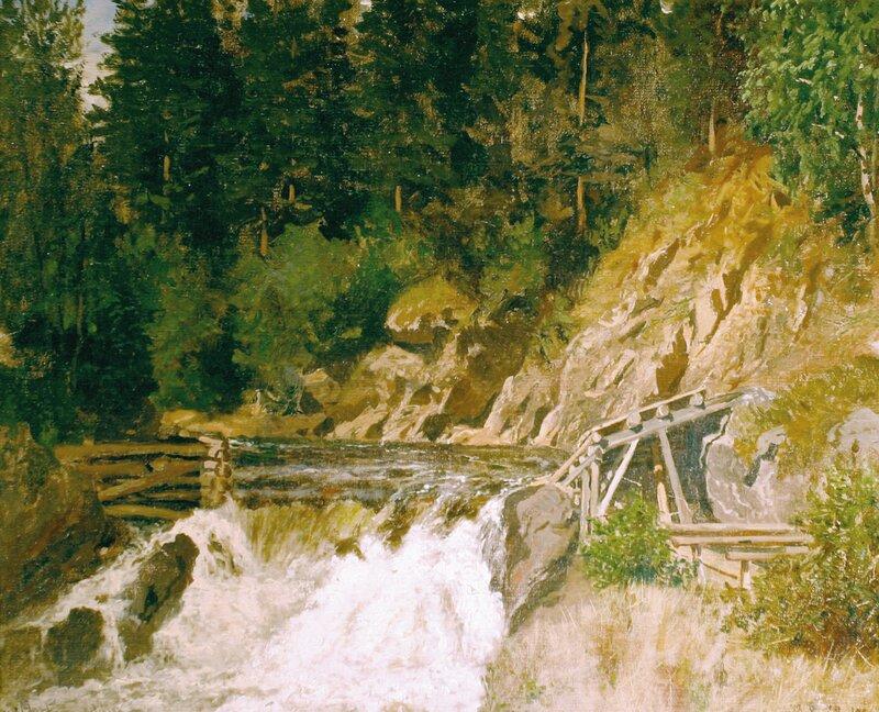 Skogsparti med fossefall 1873