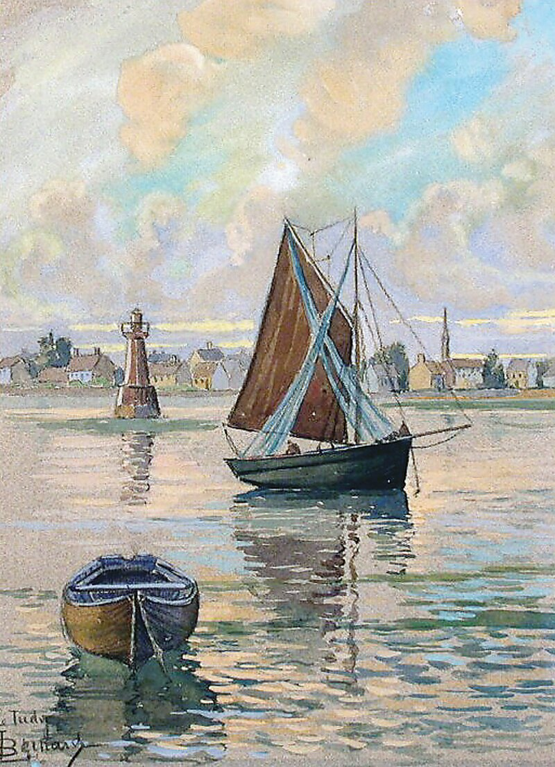 Havneparti med seilbåt og robåt
