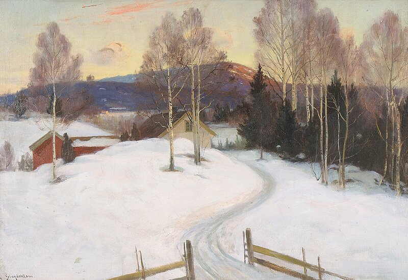 Gård i vinterlandskap
