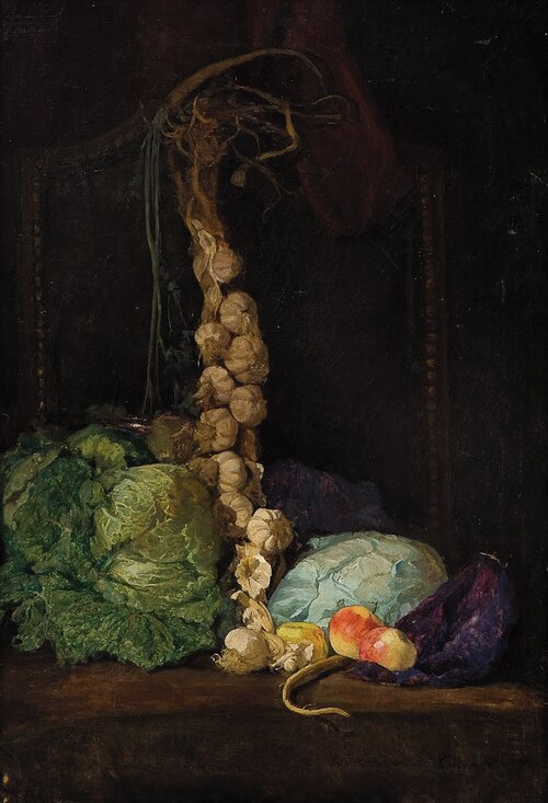 Still life with cabbage, garlic and apples