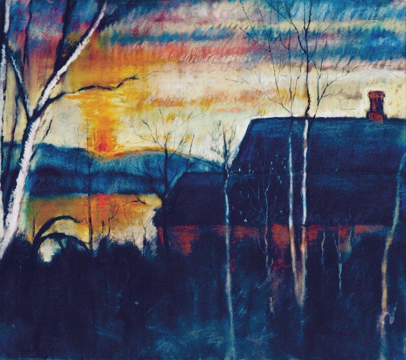 Hus i kystlandskap, solnedgang 1916