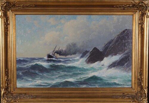 Dampbåt ved forreven kyst 1900