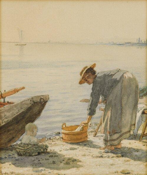 Kvinne og barn på strand 1886