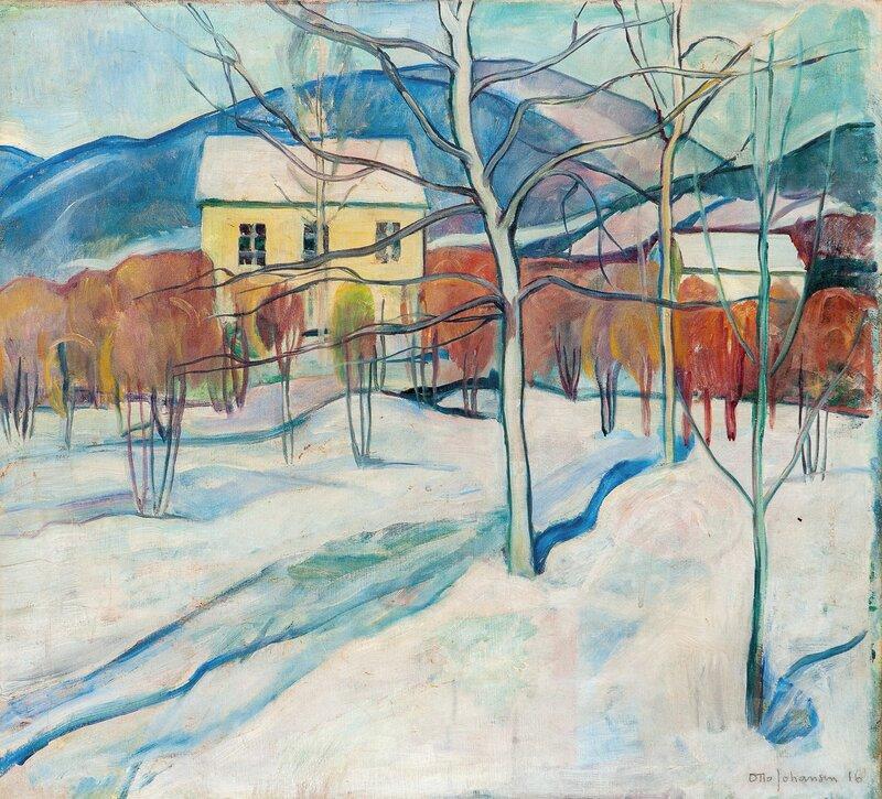 Vinterlandskap med hus, Lillehammer 1916