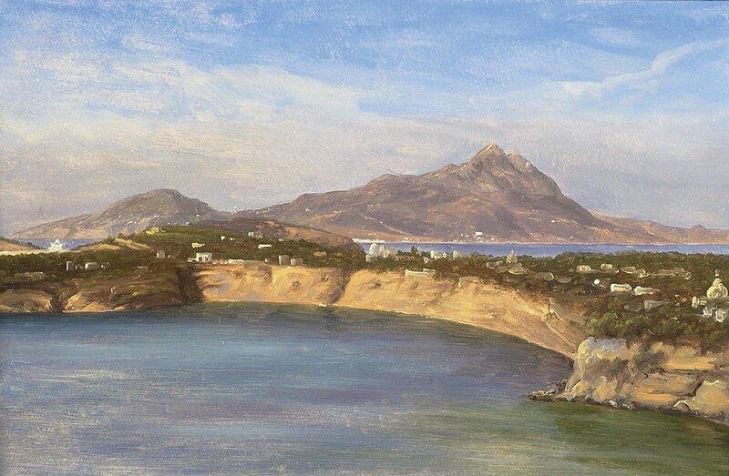 Fra Procida og Ischia med fjellet Epomeo