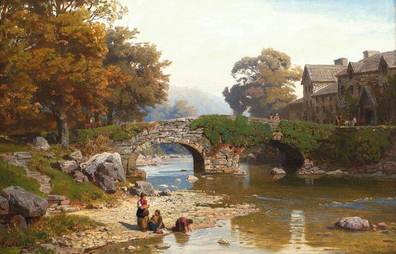 Vaskekoner ved elv 1872