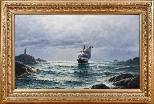 Ship between cliffs