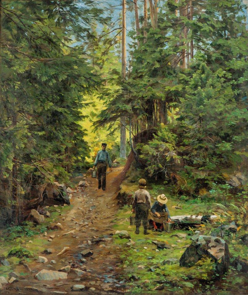 Skogssti med folkeliv 1896