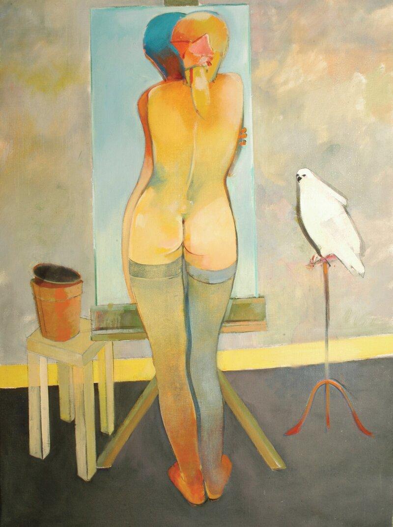 Ryggvendt akt ved speil og hvit due på vagle