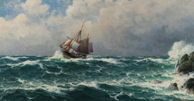 Sailing Ship by the Shore 1919