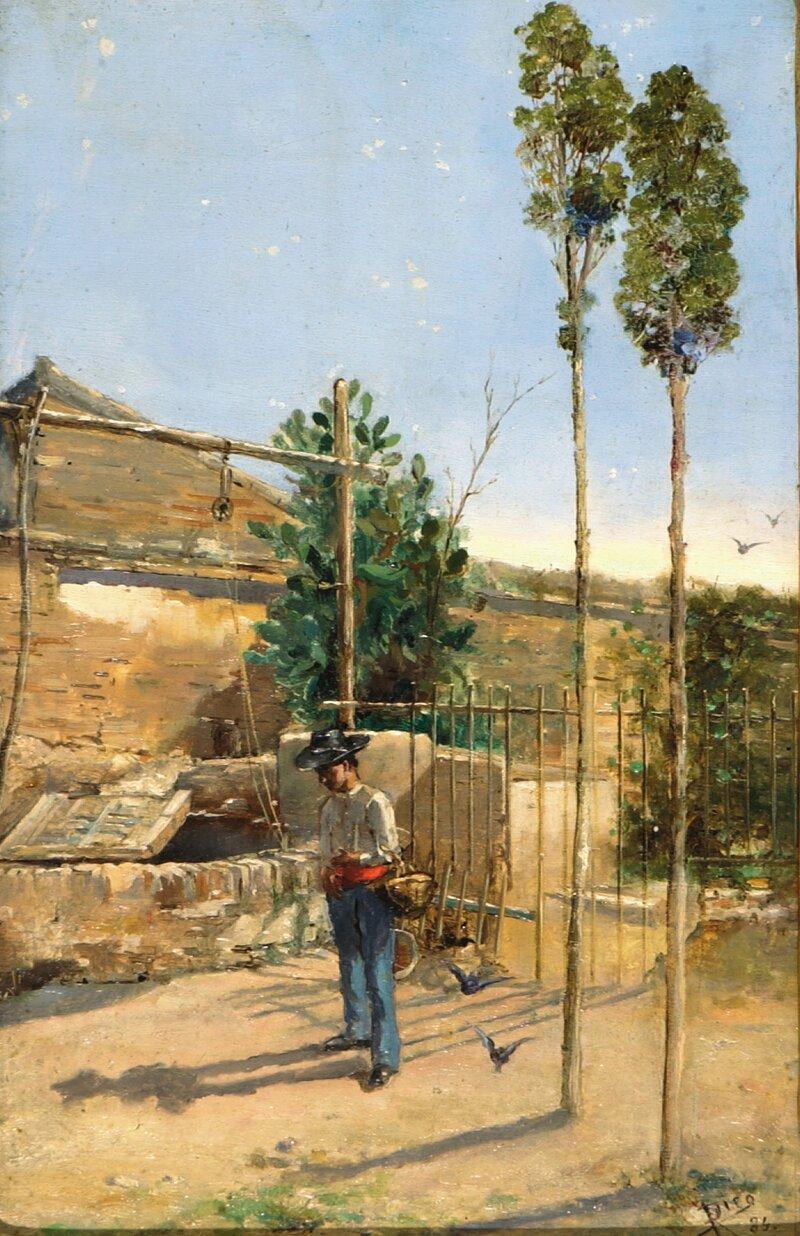 Mann med kurv ved brønn 1886