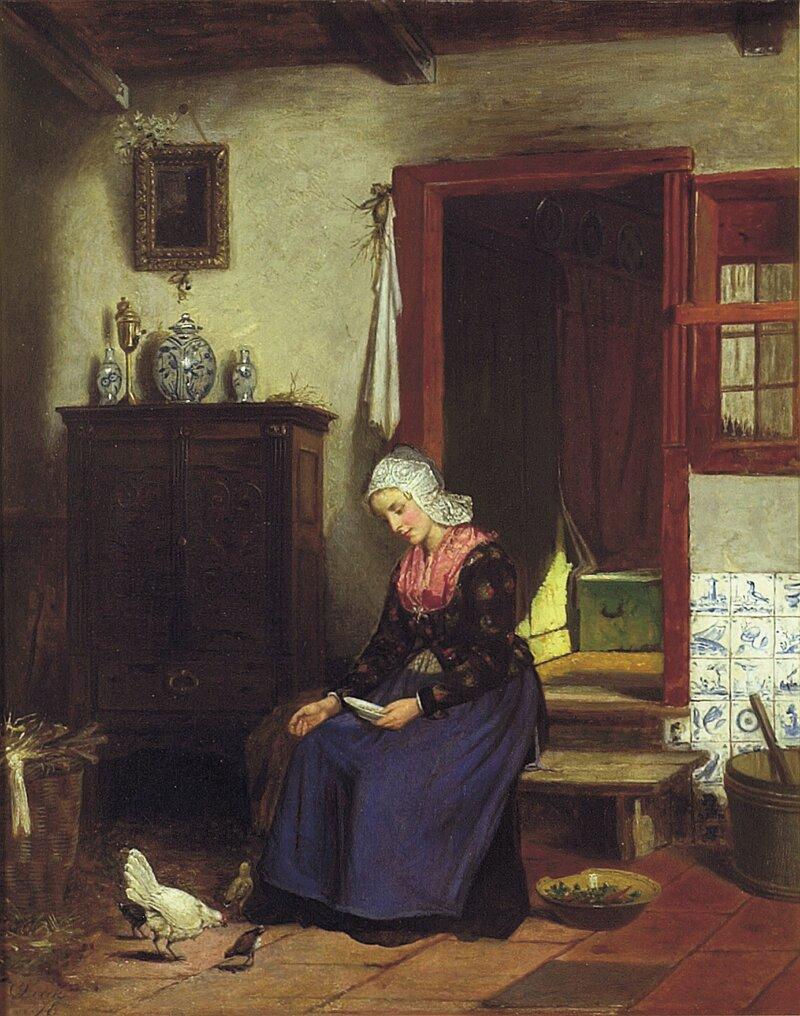 Kjøkkeninteriør med kvinne, høne og vaktler 1876