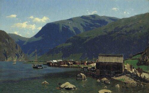 Tettsted i Sognefjorden med sognejakter