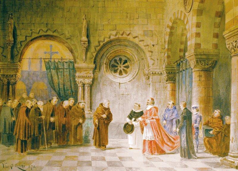 Prosesjon i kirkeinteriør 1872