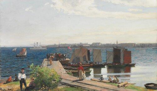 Fiskebrygge sett fra Sølvkronen, Horten 1899