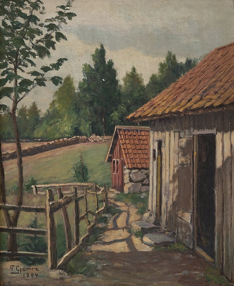 Fra et gårdstun 1904