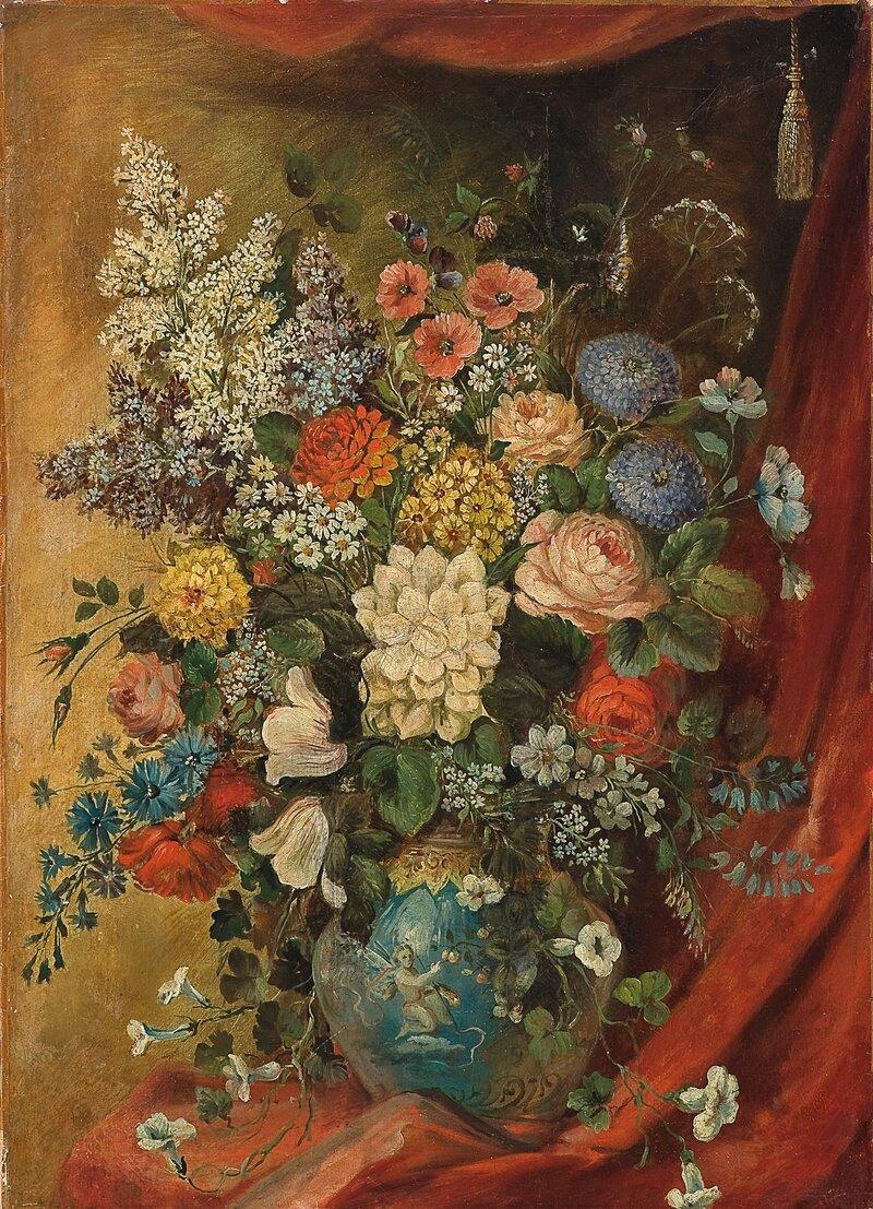 Oppstilling med blomster i vase