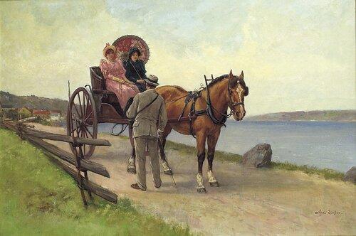 Hest og vogn med to kvinner og mann