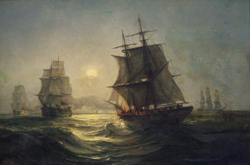 Seilskuter i måneskinn 1865