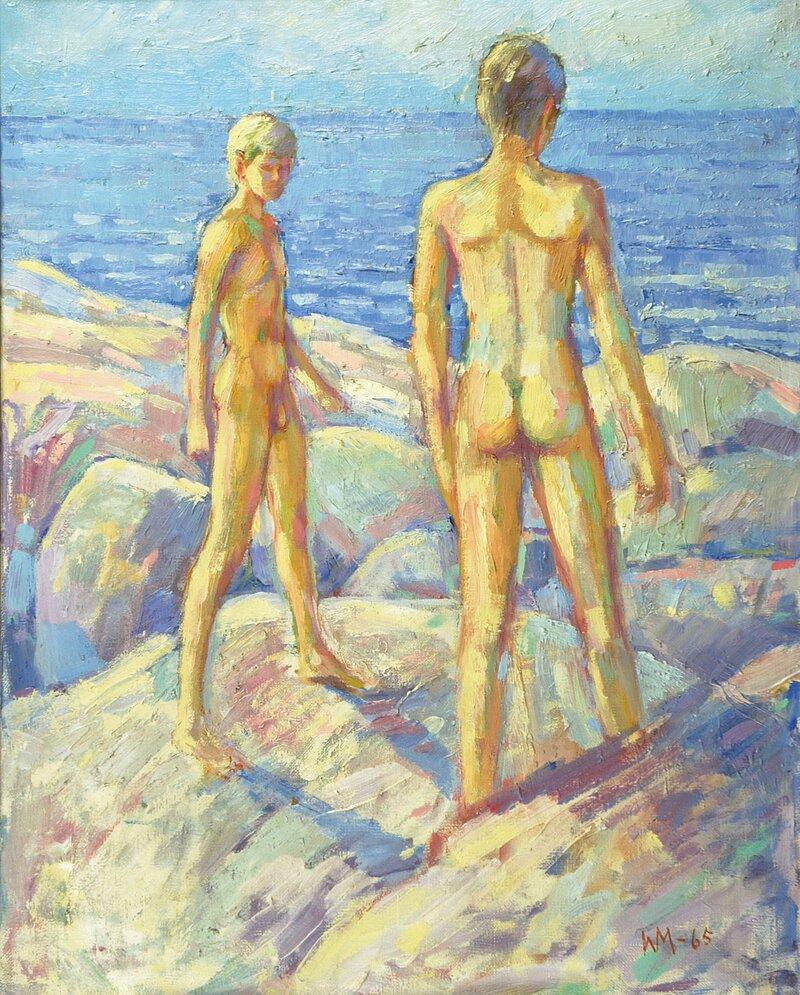Gutter på svaberg 1965