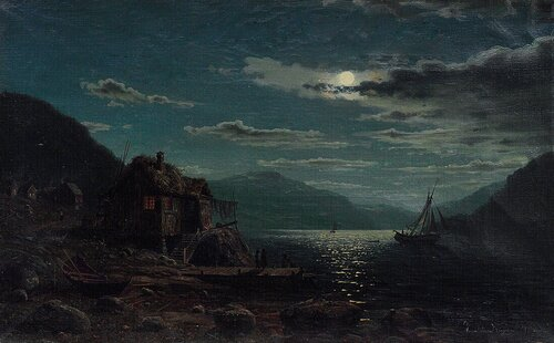 Coastal Landscape with Figures, Moonlight 1867