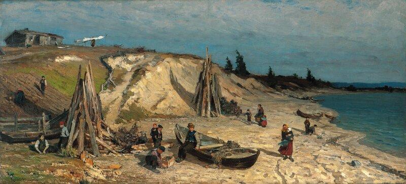 Elvelandskap med folkeliv 1878
