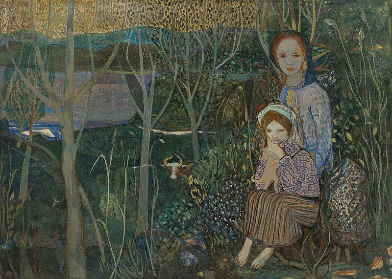 Kvinne og barn i landskap 1943