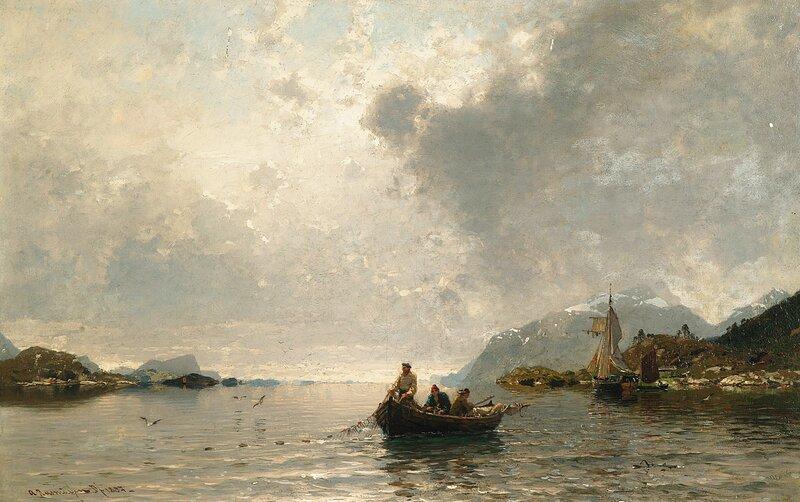 Fjordlandskap med fiskere 1887