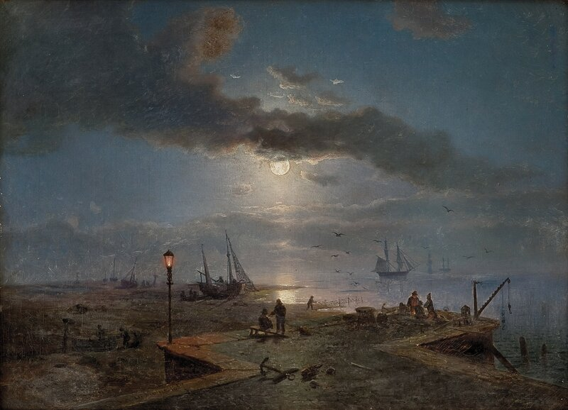 Havneparti i måneskinn 1857