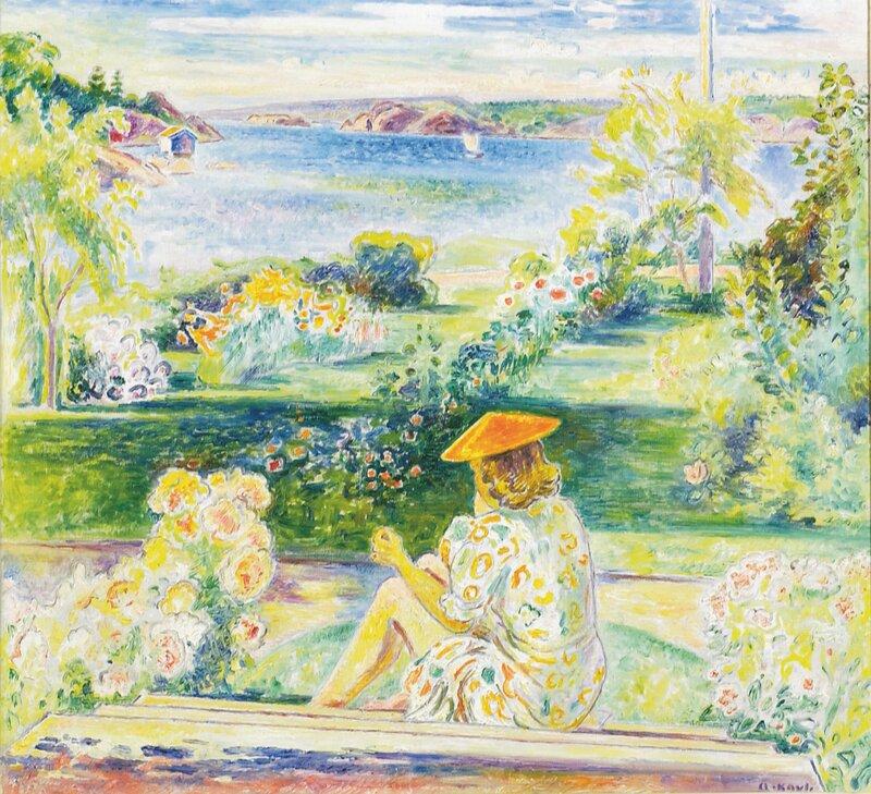 Sittende kvinne i hagetrapp