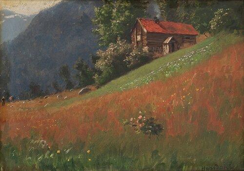 Landskap med tømmerhus